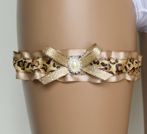 Wedding - Sassy Bridal Garter, Rhinestone Bridal Garter, Wedding Garter, Leopard Glitter Garter, Bride Garter, Gold Garter, Prom Garter