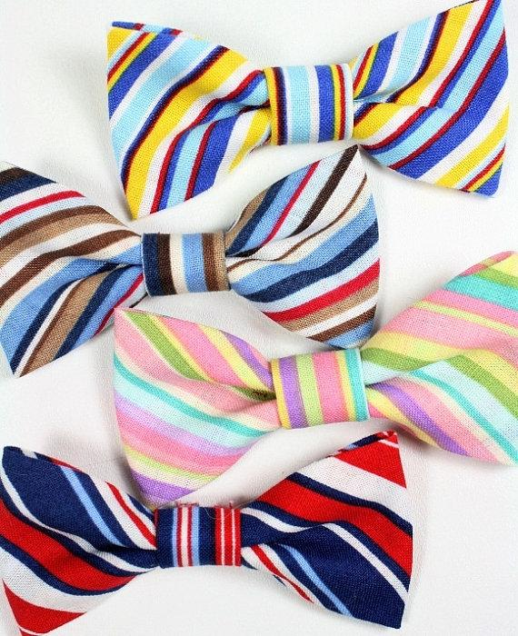 زفاف - Striped Dog Cat Bow Tie Bowtie Red Blue White Removable Yellow Brown Wedding Formal