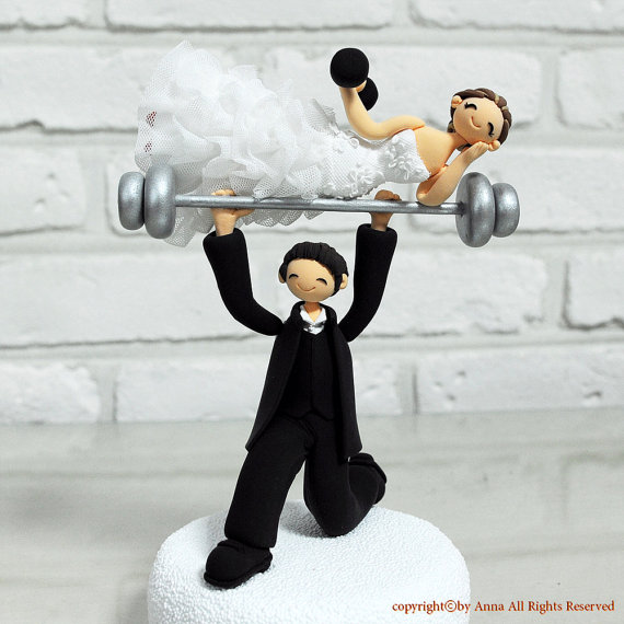 Wedding - Comic and Funny weight lifting theme custom wedding cake topper