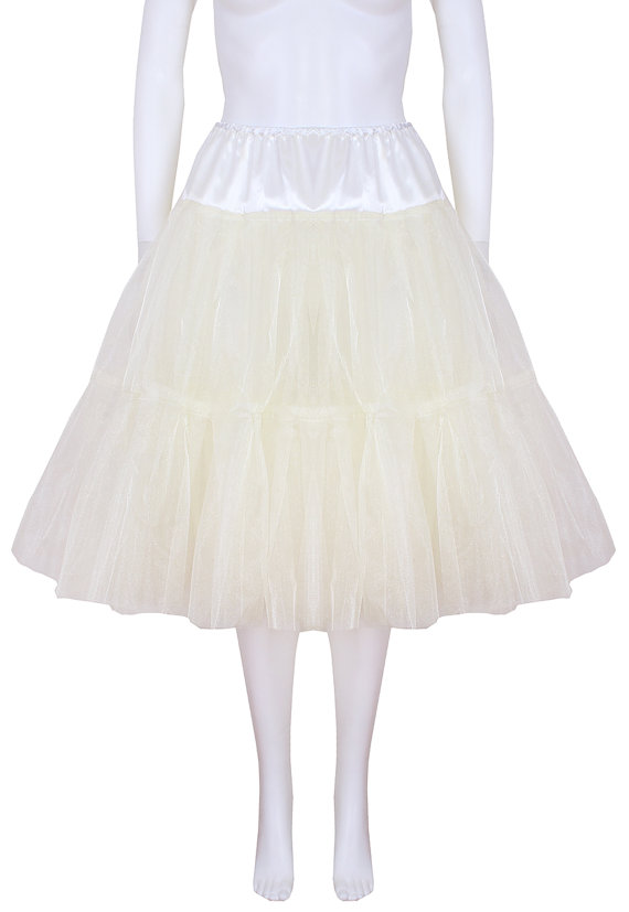 Hochzeit - Gorgeous Ivory 22 inch 2 tier 2 layer Satin & Organza petticoat. Bridal Retro Vintage Rockabilly 50's style