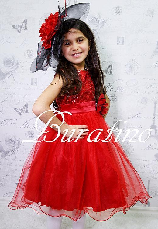 Flower Girl Dress Wedding Red Sequin