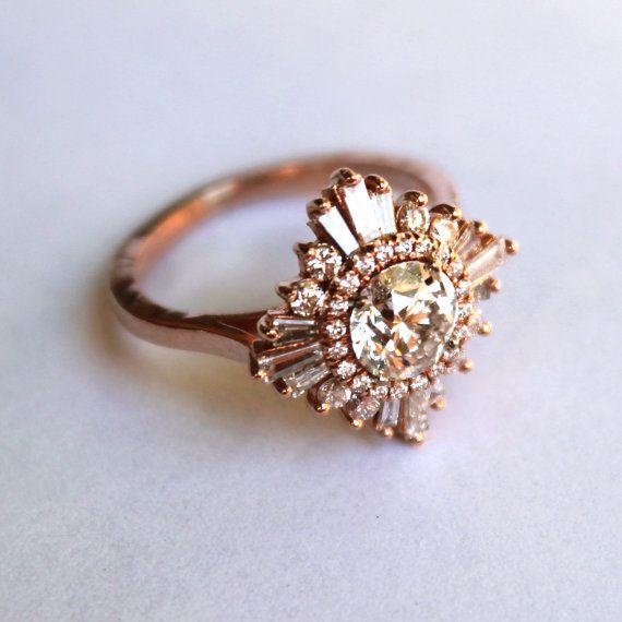 زفاف - Original Gatsby Ring - Art Deco, Engagement, Custom Made-to-order, Anniversary, Cocktail - White Sapphires, Diamonds, Moissanite, Morganite