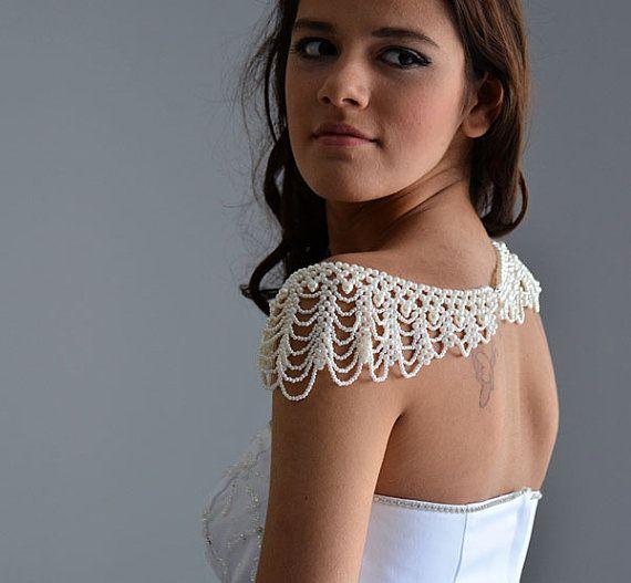 Mariage - Wedding Pearl Jewelry, Wedding Pearl Shoulder, Wedding Dress Accessory, Pearl Bridal Jewelry , Wedding Accessory, Bridal Accessory