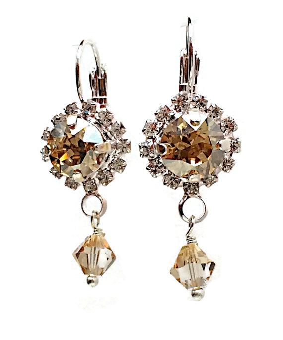 Свадьба - Swarovski Crystal Golden Shadow Rhinestone Round Stone Bridal Jewelry Earrings