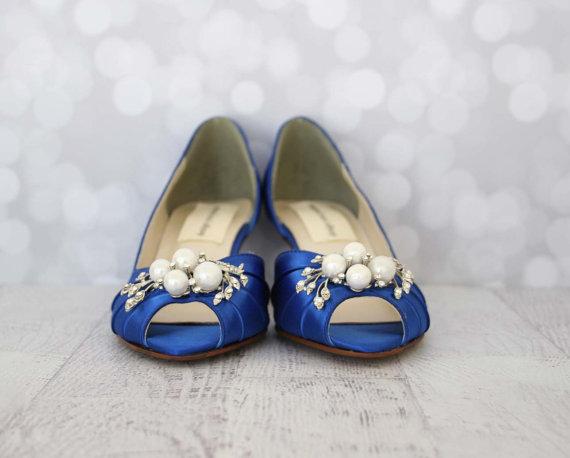 Свадьба - Custom Wedding Shoes -- Royal Blue Peeptoes with Pearl and Rhinestone Adornment