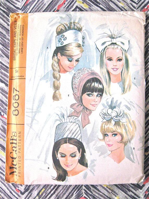 Свадьба - Uncut McCall's 8687 Vintage Sewing Pattern to make bridal veils and caps