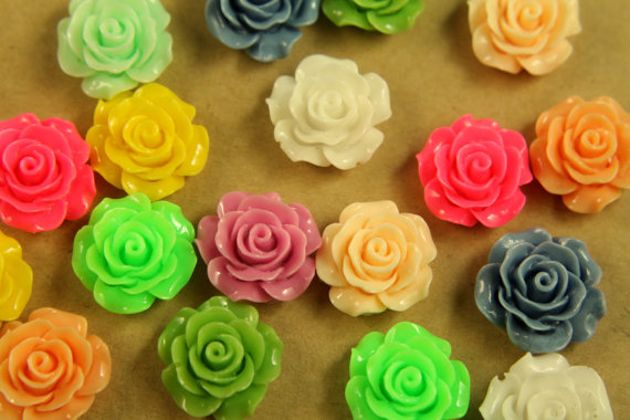 20 pc multi colored crisp petal rose cabochons 18mm res for Multi colored rose petals