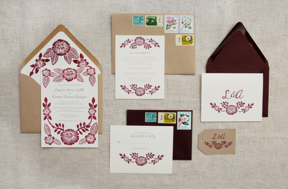 Mariage - Custom Block Printed Wedding Invitation Suite