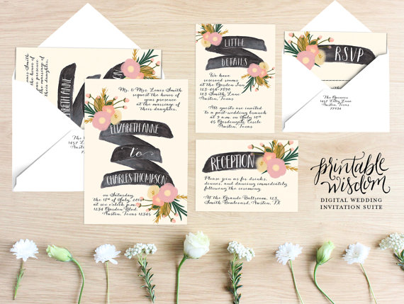 Printable Wedding Invitation Suite Floral Invite Vintage Style Rustic RSVP Card DIY Digital Set Wisdom