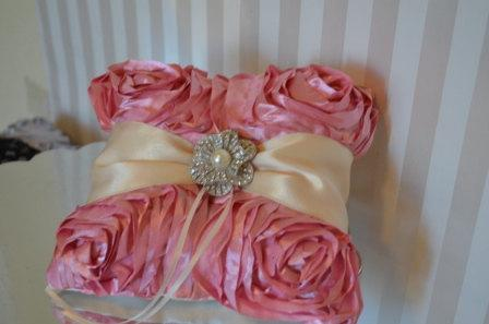 Wedding - Ring pillow-Light Pink Ruffle Ring holder with Ivory ribbon and Crystal Brooch