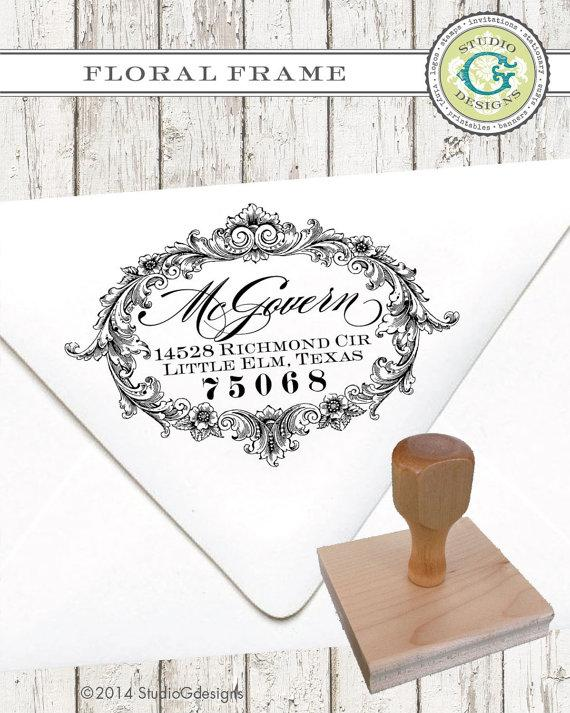 Mariage - 1.5 x 2.5  inches FLORAL FRAME  --  Personalized Return Address Stamp Wedding paper Goods