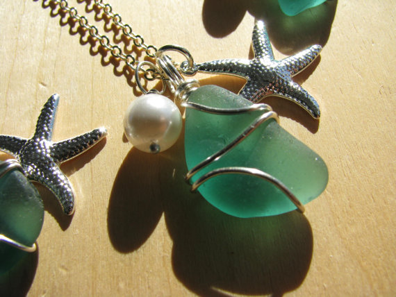 Свадьба - Sea Glass Necklaces with Starfish and Pearls Beach Glass Jewelry Bridesmaids Gift Beach Wedding Destination Wedding
