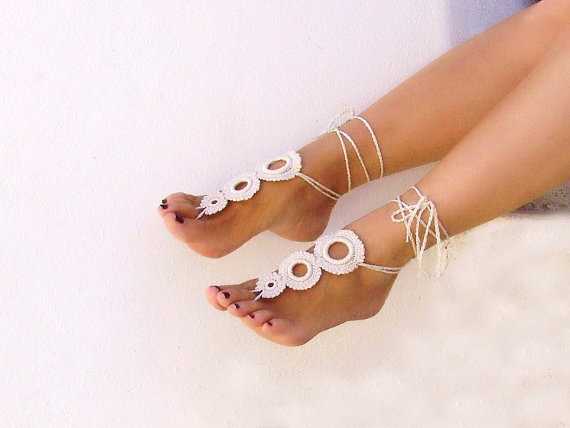 Свадьба - Light Beige Barefoot sandals, Tan crochet, champagne camomile, nude shoes, foot jewelry, wedding, Fashion Accessories