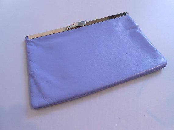 زفاف - Romantic Wedding Party - 1950s Lilac Leather Duel Clutch & Handbag - Rare