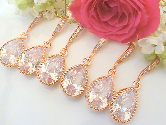 Wedding - Set Of 6  10% Off Will You Be My Bridesmaid Gift- Rose Gold Bridesmaid Jewelry- Bridesmaid Gift Wedding Jewelry Set Bridal - Cubic Zirconia