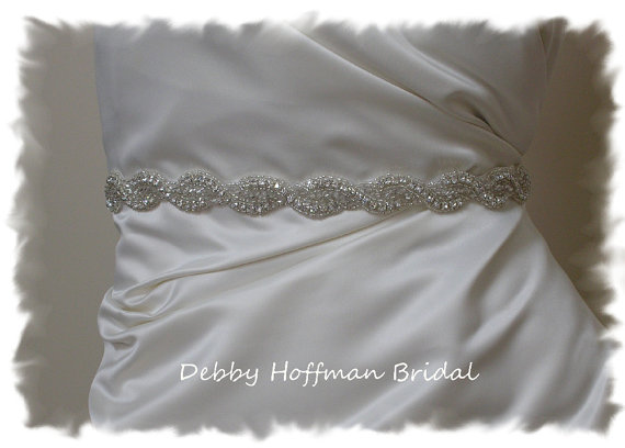 Hochzeit - Bridal Belt, 22 Inch Rhinestone Crystal Beaded Wedding Dress Sash,  No. 1126S-22, Wedding Accessories, Bridesmaids Belt, Sash, Best Seller
