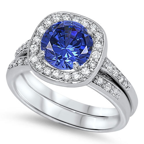 Hochzeit - 925 Sterling Silver 2.50 Carat Round Blue Sapphire Clear Topaz Wedding Engagement Anniversary Bridal Set Halo Ring and Matching Band