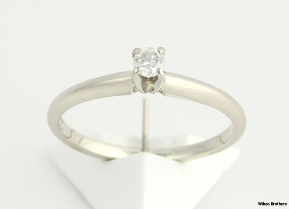 Hochzeit - Genuine Diamond Solitaire Engagement Ring .15ct - 14k White Gold Solid Polished a5001