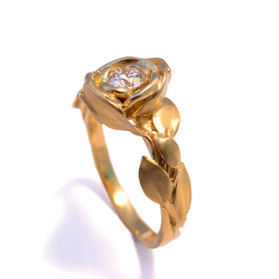 Rose engagement ring no1 18k yellow gold and diamond engagement rose engagement ring no1 18k yellow gold and diamond engagement ring engagement ring leaf flower ring antiqueart nouveauvintage mightylinksfo