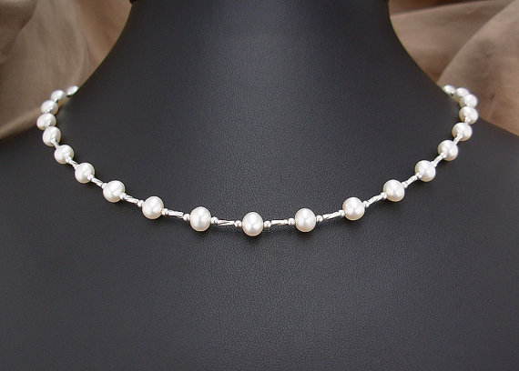 776fb7b42 Small to X-Large Necklace - Pearl Necklace with Sterling Silver Spacers -  Pearl Jewelry - Weddings - 16 inch, 18 inch, 20 inch, or 22 inches