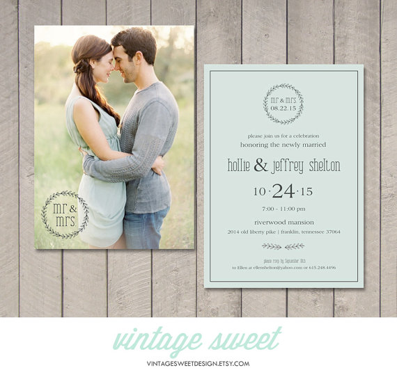 Wedding - Modern Wedding Reception Invitation (Printable) by Vintage Sweet