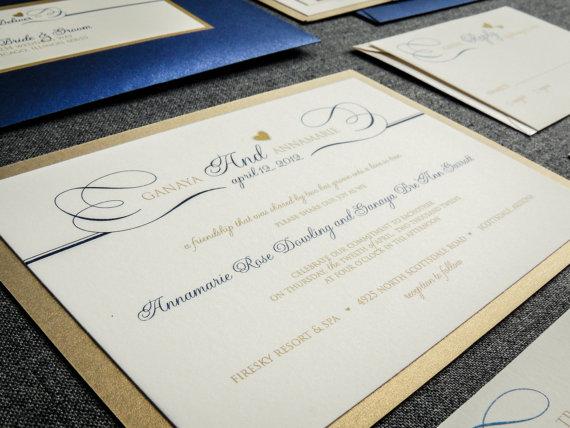 زفاف - Navy & Gold Wedding Invitations, Fall, Winter Wedding, New Year's Wedding Invitations, Romantic Flourish - Flat Panel, 1 Layer, v3 - DEPOSIT