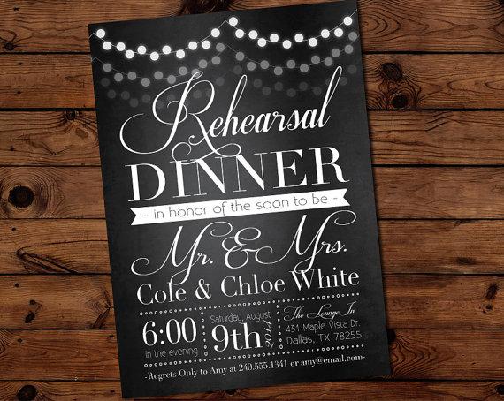 زفاف - Elegant Lantern Lights Black Rehearsal Dinner Invitation, Engagement Party Invite Wedding