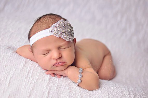 baby girls couture pearl rhinestone bling gatsby style girl vintage