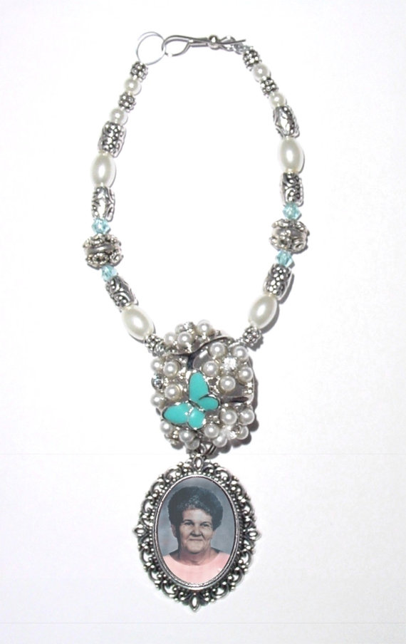 Свадьба - Wedding Bouquet Memorial Photo Silver Blue Butterfly Oval Metal Charm Gems Pearls Tibetan Beads - FREE SHIPPING