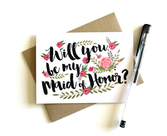 زفاف - Maid of Honor Card 'Will You Be My Maid of Honor' - Greeting Card, Maid of Honor, Wedding Card, Floral Card, Bridal Party