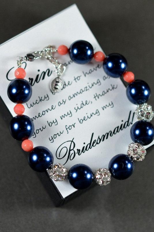 Свадьба - navy blue coral -Wedding Jewelry Bridesmaid Gift Bridesmaid Jewelry Bridal Jewelry  blue pink  Pearl Drop Earrings Cubic Zirconia Bracelet
