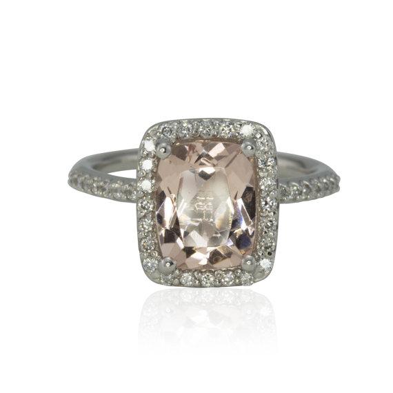 Hochzeit - 2 Carat Peach Pink Morganite and Diamond Halo Solitaire Engagement Ring - LS4272