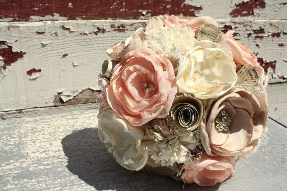 """Свадьба - Blush wedding bouquet, bridal bouquet, 7"""" pale peach fabric flower and sola flower bouquet, vintage sheet music, burlap"""