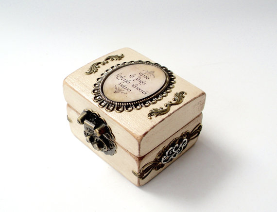 engagement ring box lord of the rings inspired wedding ring bearer box antiqued rustic white - Lord Of The Rings Wedding Rings