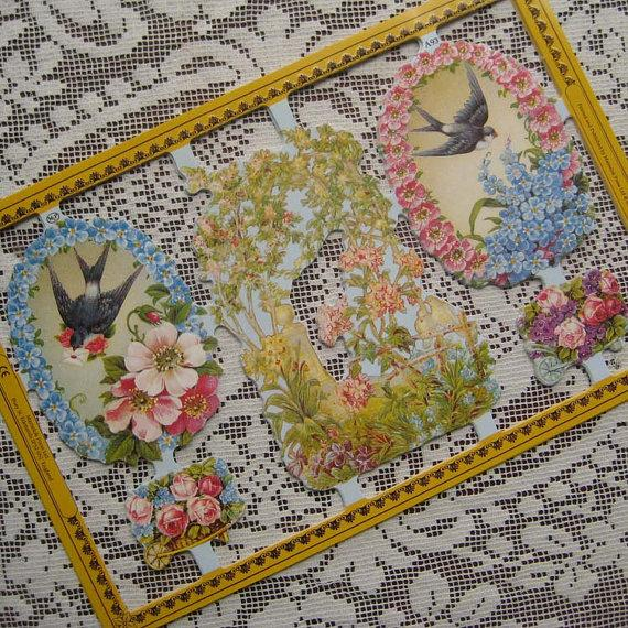 Mariage - Made In England Paper Lithograph Die Cut Scraps Birds Flowers  A-93