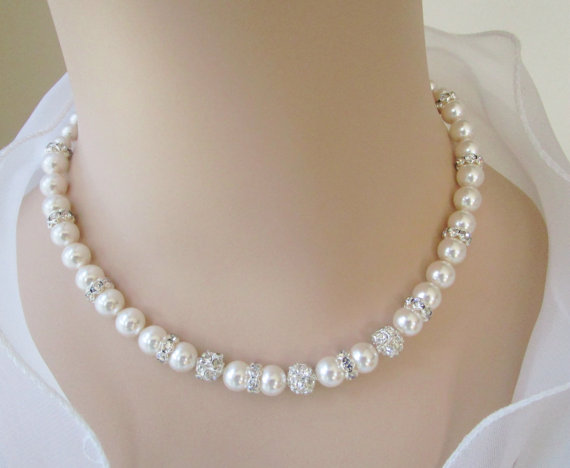 Pearl And Rhinestone NecklaceBridal NecklaceBridal Jewelry