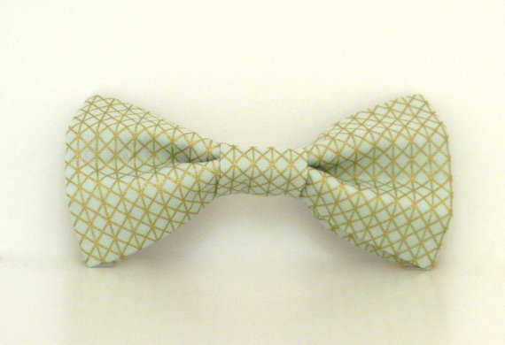 Mariage - Mint Green Gold Metallic Dog Bow Tie Wedding Accessories Made to Order