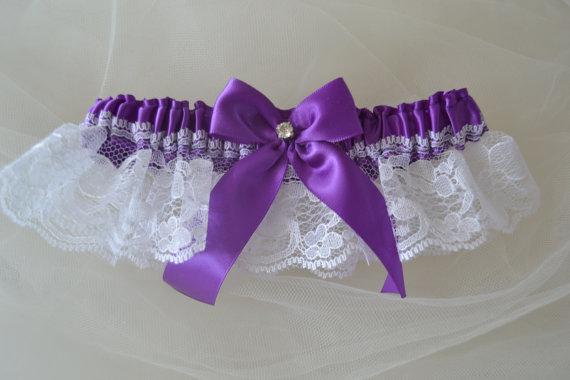 Свадьба - Keep Garter Purple Satin With White Rachel Lace