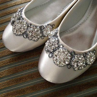 Mariage - Crystal Garland Ballet Flats Wedding Shoes -  All full and half sizes, wide widths