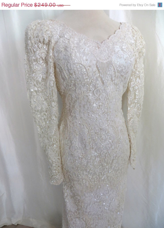 Wedding dress long train bridal gown fully beaded for Long sleeve beaded wedding dress
