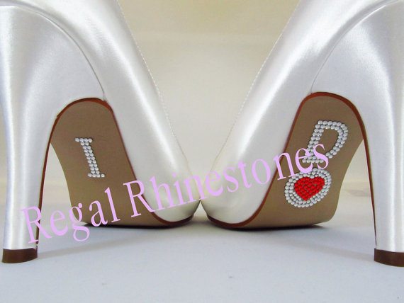 Mariage - I Do Circle Red Heart Shoe Stickers - Rhinestone I Do Wedding Shoe Stickers - Rhinestone I Do Shoe Stickers for your Bridal Shoes