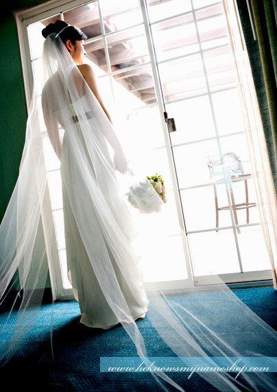 Hochzeit - Single Layer Cathedral Length Veil - wedding, white, ivory,  soft white, clean cut edge veil