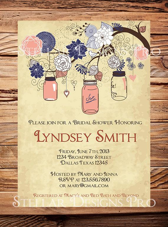 زفاف - Bridal Navy Mason Jars Invitation,Coral, Yellow, Vintage Bridal Shower, Wedding,Mason Jars, Branches, Navy, Pink,Yellow,Brown - Item 1213