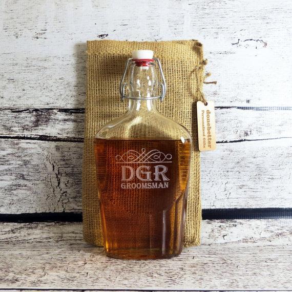Hochzeit - Personalized Glass Flask 500 ml - Custom Groomsmen Gift - Gifts for Men - Best Man- FREE ENGRAVING