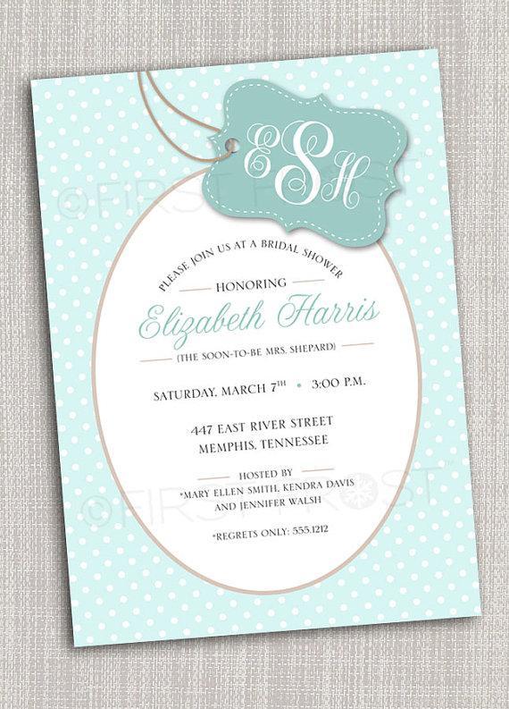Hochzeit - Monogram Printable Invitation - Wedding Bridal Shower Tea Luncheon