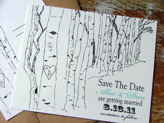 Hochzeit - Rustic save the date cards, tree save the dates