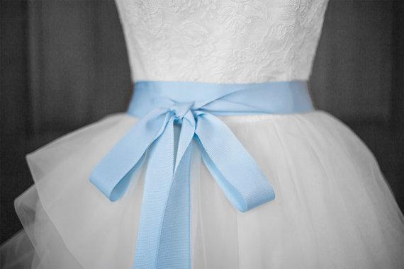 Mariage - Sky Blue Bridal Sash - Romantic Luxe Grosgrain Ribbon Sash - Wedding Bridal Sash
