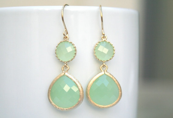 Mint Chalcedony Earrings In Gold Green Light Wedding Jewelry Bridesmaid Bridal Mom