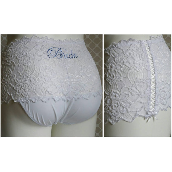 Свадьба - Bridal panties (Plus size): White Lace Brief with Lace Up Sides and Something Blue - Personalized Bridal Panties - 1X 2X 3X 4X