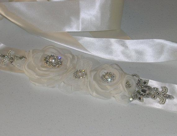 Mariage - Wedding Dress Sash Bridal Belt w Handmade Flowers --Ready to Ship in Ivory